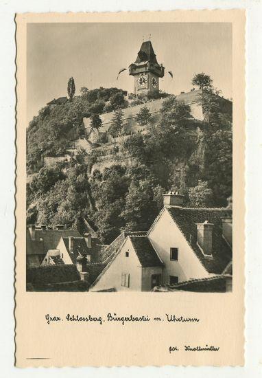 Postkarte: Graz. Schlossberg. Bürgerbastei mit Uhrturm.: Graz: