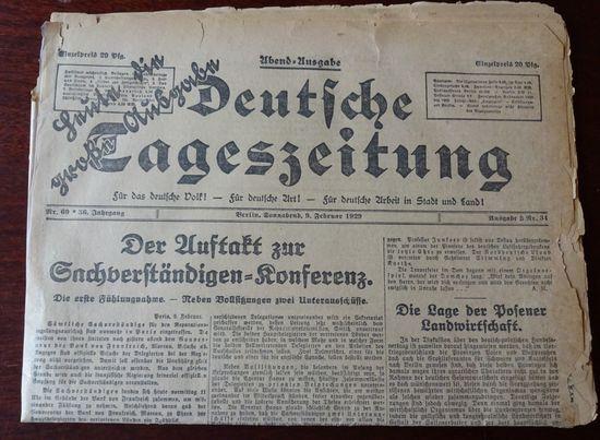 Deutsche Tageszeitung. Abend-Augabe. Sonnabend, 9 Februar 1929.: Deutsche Tageszeitung: