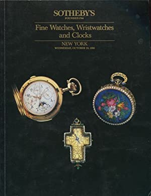 Fine Watches, Wristwatches and Clocks. Sotheby`s Auction. New York. Wednesday, October 29, 1986.