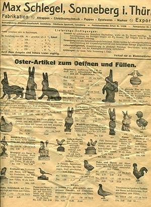 Preisliste 1938: Oster-Artikel zum Oeffnen und Füllen.: Max Schlegel: