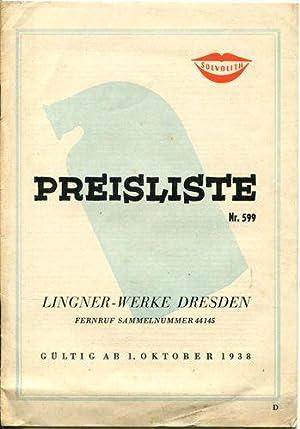 Preisliste Nr. 599. Gültig ab 1. Oktober: Lingner-Werke, Dresden: