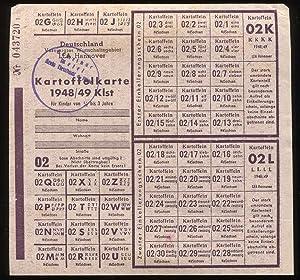 Kartoffelkarte 1948 / 49 Klst für Kinder