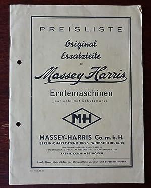 Preisliste Original Ersatzteile zu Massey Harris Erntemaschinen.: Massey Harris Co.
