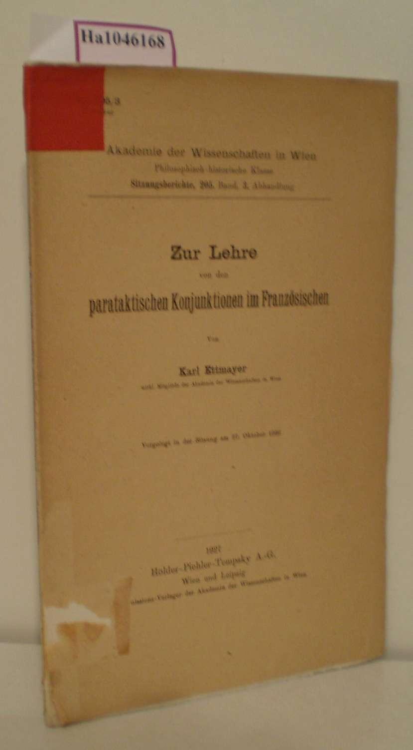 Zur Lehre von den parataktischen Konjunktionen im: Ettmayer, Karl: