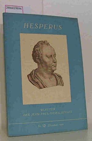 Hesperus - Blätter der Jean-Paul-Gesellschaft Nr. 12 Oktober 1956