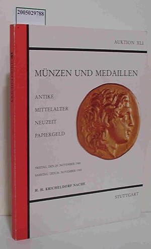 Münzen und Medaillen Auktion XLI 25.-26.11. 1988: Kricheldorf H. H.
