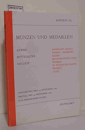 Münzen und Medaillen Auktion XL 24.-25. September: kricheldorf H. H.