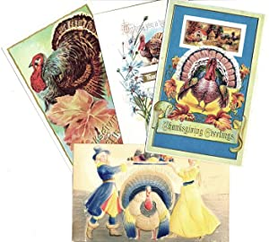 Group of 4 Vintage Polychrome Thanksgiving Postcards