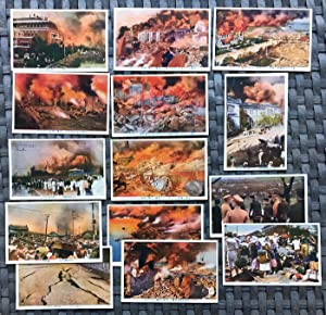 Group of Fourteen (14) Vintage Japanese Postcards, The Great Earthquake & Fire of Yokohama, Japan...