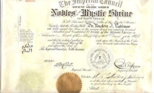 1923 Ancient Arabic Order of the Nobles of the Mystic Shrine (A.A.O.N.M.S.) or Shriners North ...