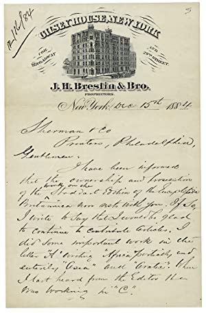 1884 Autograph Letter Signed by Alvan S. Southworth, former Secretary to the American Geographica...