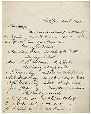 1871 Autograph Letter Signed by Norton P. Chipman, Secretary of Washington D.C. and soon-to-be De...