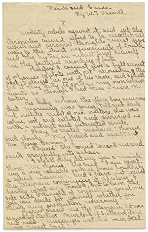 [Manuscript of William F. Vassall's 1916 New York City Mystery