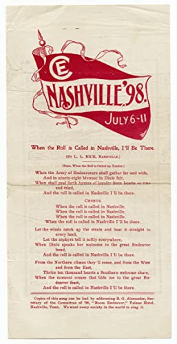 Nashville, '98. July 6-11. [Young People's Society of Christian Endeavor song sheet]