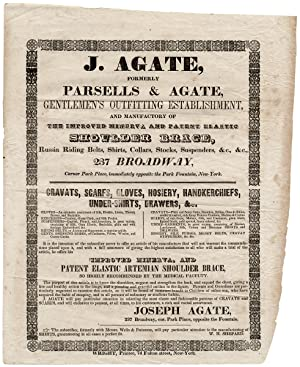 J. Agate, Formerly of Parsells & Agate, Gentlemen's Outfitting Establishment and Manufactory. [op...