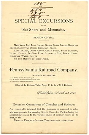 Special Excursions to the Sea-Shore and Mountains. Season of 1883
