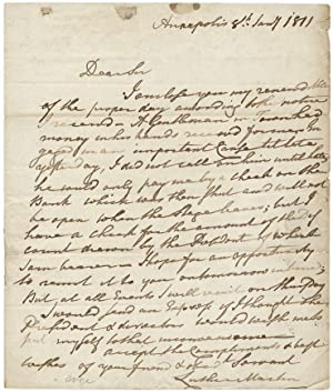 1811 Autograph Letter Signed by Luther Martin, Maryland Lawyer and Anti-Federalist