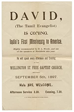 David, (The Tamil Evangelist) is Coming. India's First Missionary to America. Highly recommended ...
