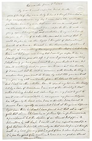[1867 Autograph Letter Signed by a Virginia-native and Iowa Minister Renouncing his Baptist Faith]
