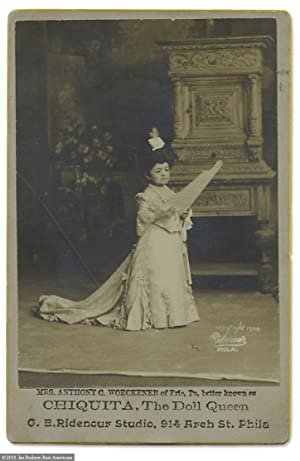 [Autographed Cabinet Card Photograph of Carnival Entertainer Chiquita, The Doll Queen]
