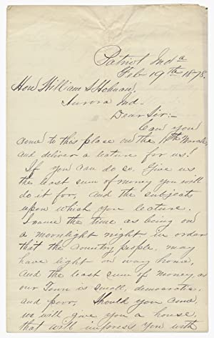 1878 ALS to William S. Holman, Indiana Democratic Politician and Congressman, Inviting Him to Lec...