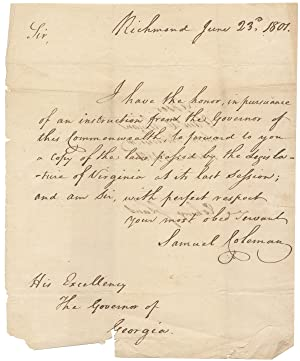 1801 Autograph Letter Signed from Samuel Coleman, Virginia clerk, to Georgia Governor David Emanu...