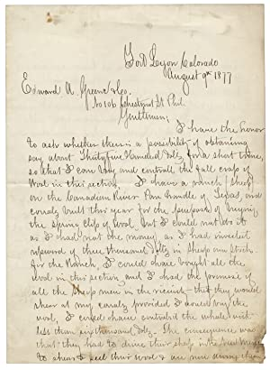 1877 Autograph Letter Signed by a Texas Rancher, Scoundrel, and Officer Charles T. Witherell, 1st...