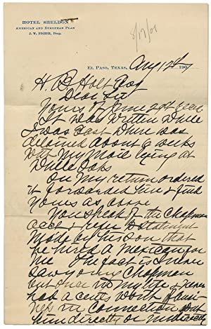 1901 Autograph Letter Signed by James Bean, Brother of Legendary Judge Roy Bean-
