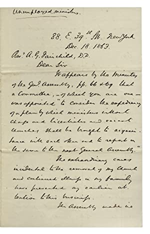 1863 Autograph Letter Signed by Princeton Theological Seminary Director, John Michael Krebs