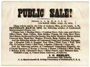 Public Sale!. There will be sold in the City of Jackson, Miss.May 16, 1874, the following article...