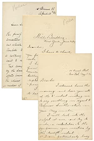 Three Autograph Letters Signed by Horace Porter, Ulysses S. Grant's Secretary and Staff Officer, ...