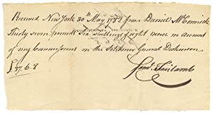 1782 New York Receipt for Commissions via the Schooner General Dickinson