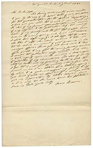 1840 Autograph Letter Signed by East Groveland, New York preacher Oren Brown