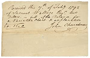 1792 Autograph Document Signed by John Churchman, Map Maker, Surveyor, Mathematician