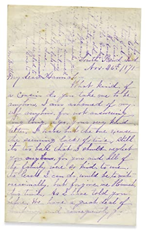 [1871 Autograph Letter Signed; Anna M. Bartlett's Eyewitness account of the Great Chicago Fire of...
