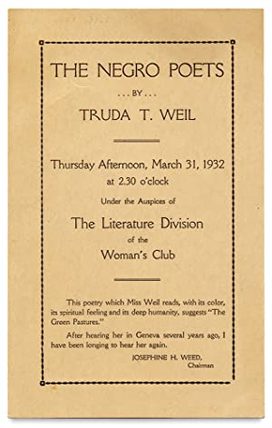 The Negro Poets by Truda Weil. Thursday Afternoon. 1932. The Literature Division of the Woman's Club