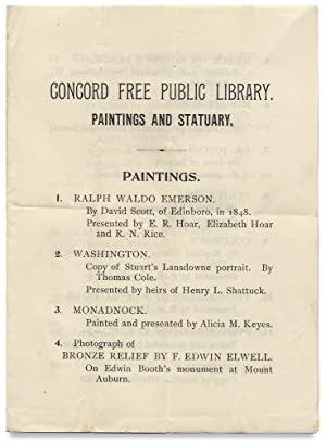 [Thoreau & the Transcendentalists:] Concord Free Public Library. Paintings and Statuary. Paintings