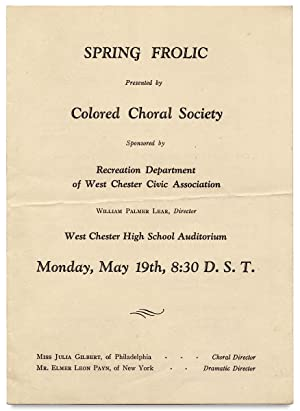 Spring Frolic presented by Colored Choral Society. West Chester High School Auditorium. [opening ...