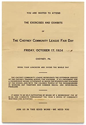 You Are Invited to Attend the Exercises and Exhibits of the Cheyney Community League Fair Day. Oc...