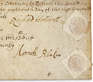 [17th Century Pennsylvania Indenture of Richard Halliwell of Newcastle and Hannah Blake of Philad...