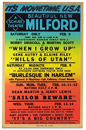 [Segregation-era, rainbow-printed movie theater poster:] It's Movie Time U.S.A. Beautiful New Mil...