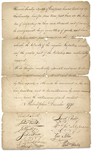 [1790 Philadelphia Merchants' and Importers' Declaration of Association against European Agents]