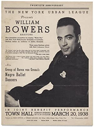 The New York Urban League presents Williams Bowers Baritone. [opening lines of broadside]