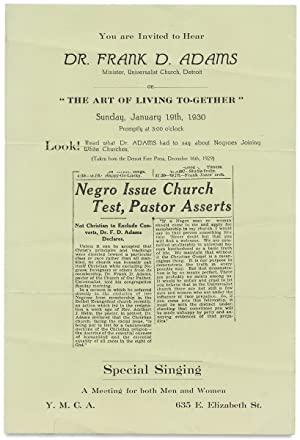 [Racial Harmony in 1930:] You are Invited to Hear Dr. Frank D. Adams Minister, Universalist Churc...