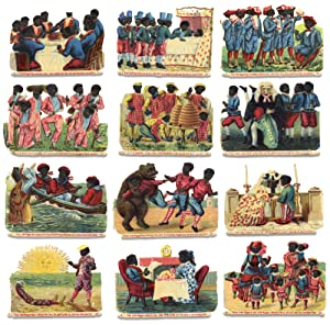 [Set of 12 Racist Chromolithographic Die Cuts:] Ten Little N****r Boys went out to dine, One chok...