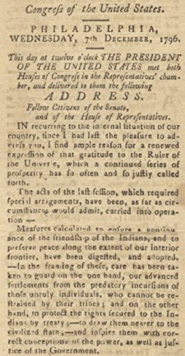[1796 George Washington Final State of the Union Address published in Easton, Maryland's Maryland...