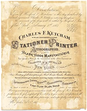 Charles F. Ketcham of the Late Firm of Hosford and Ketchman, Stationer, Printer, Lithographer, an...