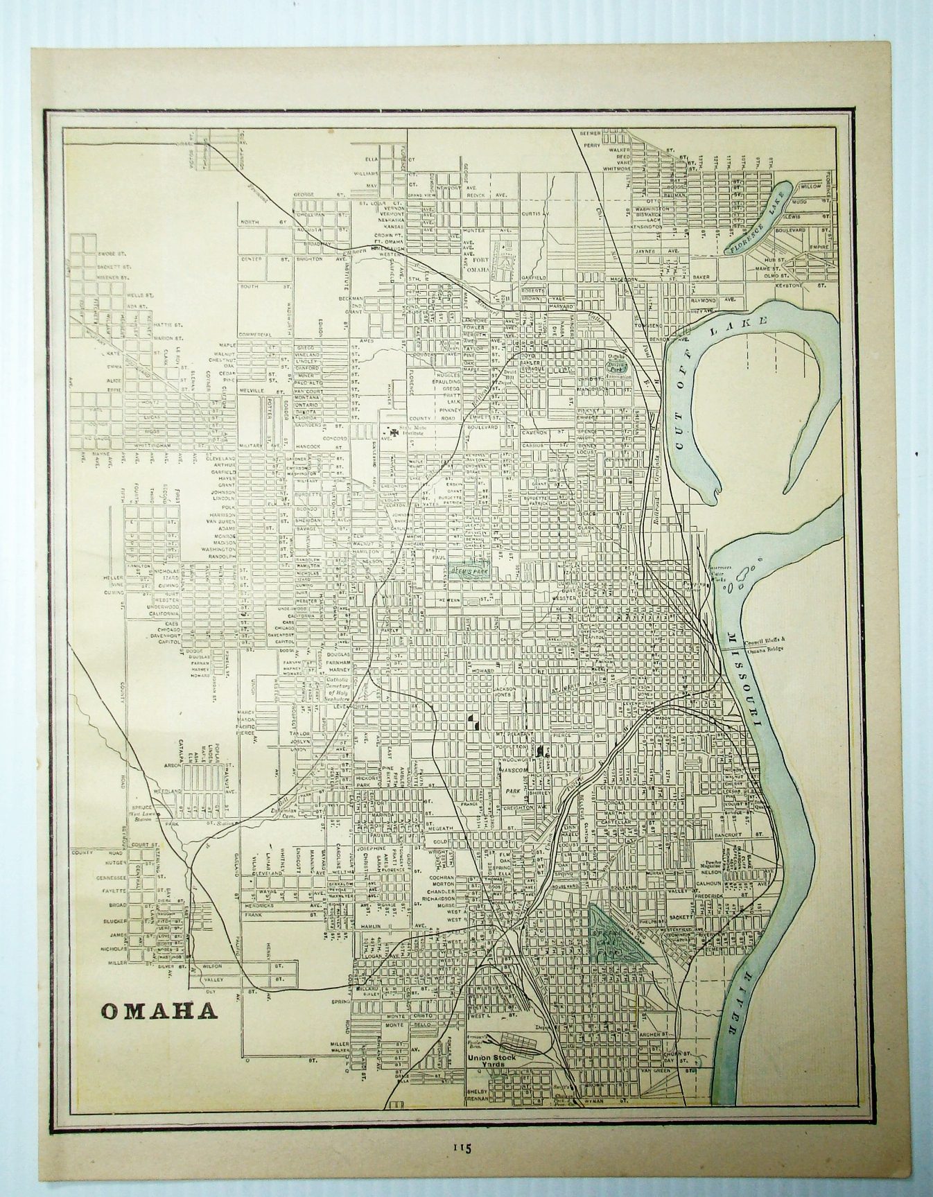 1889 Color Map of the City of Omaha,