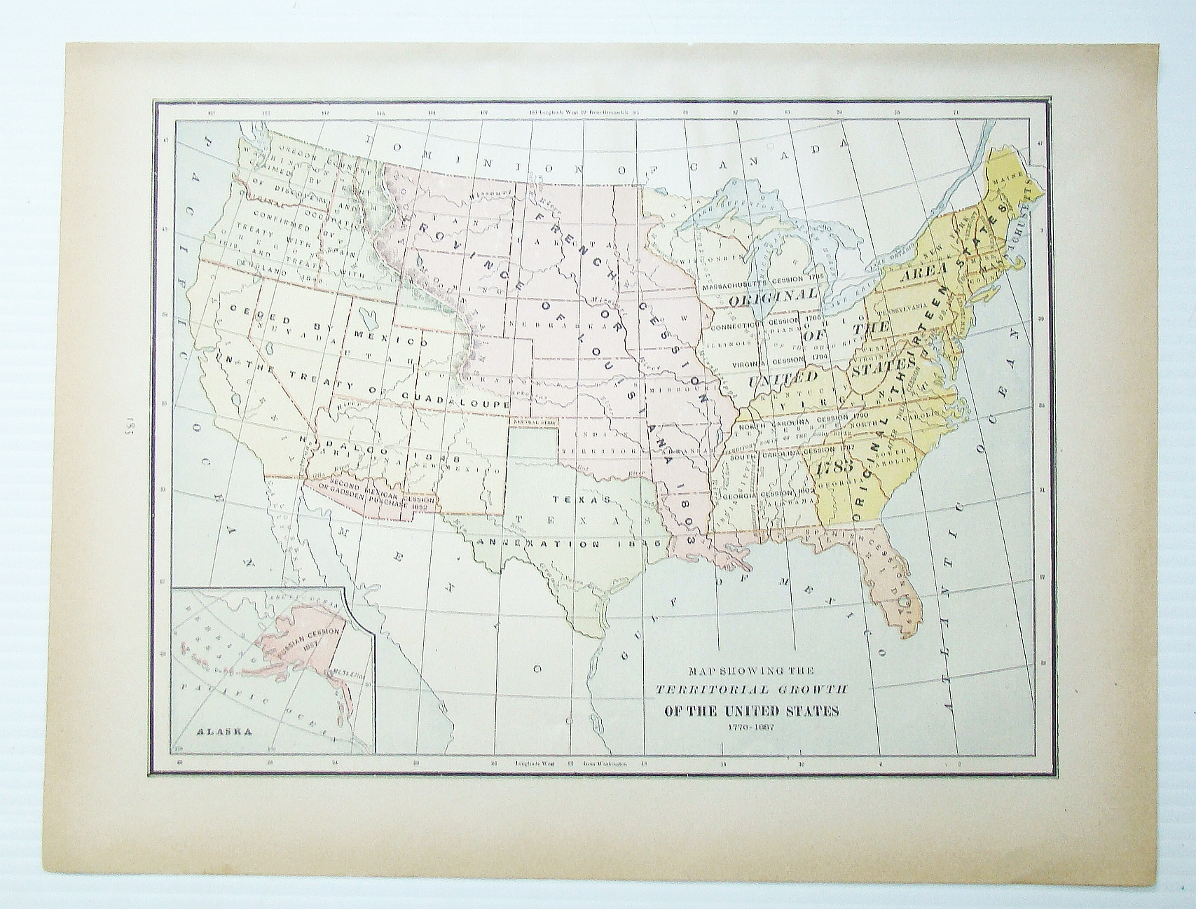 1889 Color Map Showing The Territorial Growth Of The United States