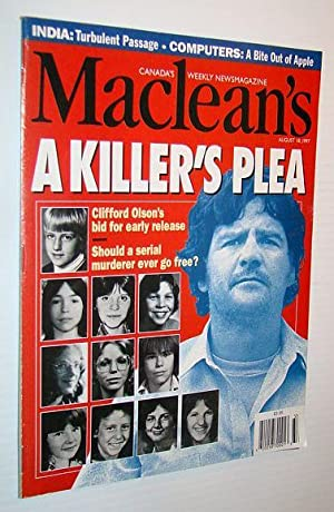 Maclean's, Canada's Weekly Newsmagazine, August 18, 1997 - Clifford Olson Cover Photo: ...